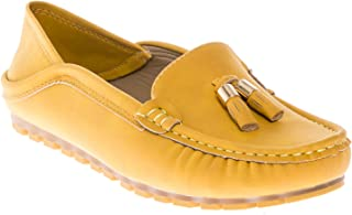 CALICO KIKI Womens Comfort Nubuck Leather Casual Tassel Accent Slip-on Moccasins Loafers Slipper Flats