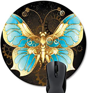Wknoon Round Mouse Pad Customized Design, Mechanical Butterfly Brass and Gold with Wings Decorated with Blue Glass and Gears