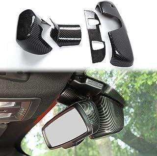 Voodonala for Challenger ABS Carbon Fiber Interior Rearview Mirror Trim for 2015-2020 Dodge Challenger, 4pcs