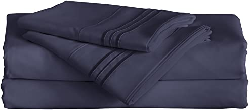 Furinno Angeland Vienne 3-Piece (3) Microfiber Bed Sheet and Pillowcase Set, Twin X-Large, Navy Blue