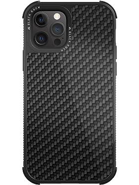 Black Rock - Phone Cover Robust Case Carbon Designed for iPhone 12 Pro Max 6.7   Fiber Case, for Men and Women (Black)