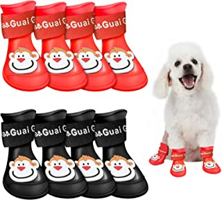 2 Sets Dog Rain Boots Waterproof Puppy Rain Boots Candy Color Cartoon Icons Cute Resin Waterproof Pet Claw Protective Gear...