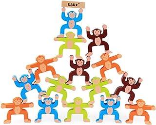 YALNe' 動物 おもしろ シリーズ おさる の 木製 バランス セット 動物タワー 玩具 知育 おもちゃ 子供 木製 ブロック サル モンキー 猿