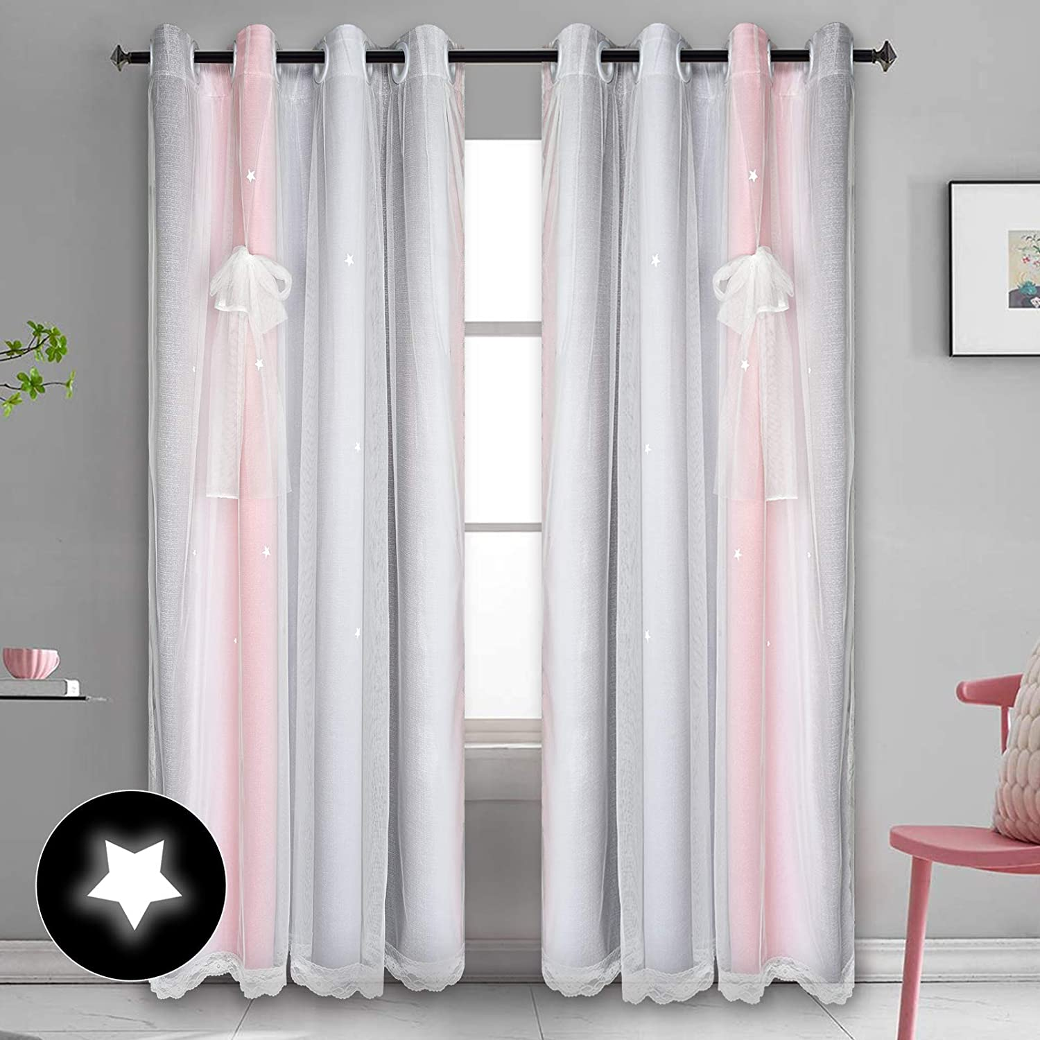 Star Blackout Curtains for Girls Kids Teen Bedroom, Pink Grey OmbreStripe Window Curtain Panels, 2 Layer Lace Drapes, Room Darkening Curtain for Living Room Decor, 2 Panels, 52 x 84 Inch