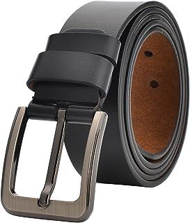 أحزمة رجالي من VRLEGEND لفستان جينز كاجوال مقاس 86.36 سم - 157.52 سم حزام جلد كبير وطويل، أسود وبني