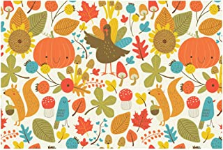 Disposable Paper Placemats - Bulk of 48 Sheets - Thanksgiving Cute Critters - 11