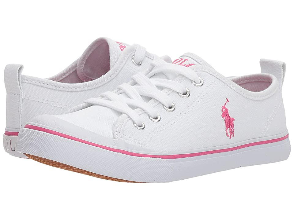 Polo Ralph Lauren Kids Karlen (Little Kid) (White Canvas/Baja Pink Pony Player) Kid