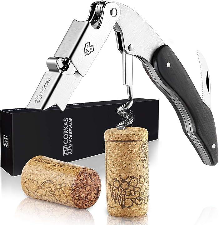 Cavatappi professionali apribottiglie vino, cavatappi da sommelier - corkas B073TXFRBV
