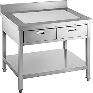 VEVOR Table de Travail avec 2 Tiroirs Table en Acier Inoxydable+PE 610 x 1220 mm Plan de Travail à Deux Étages pour Offrir...