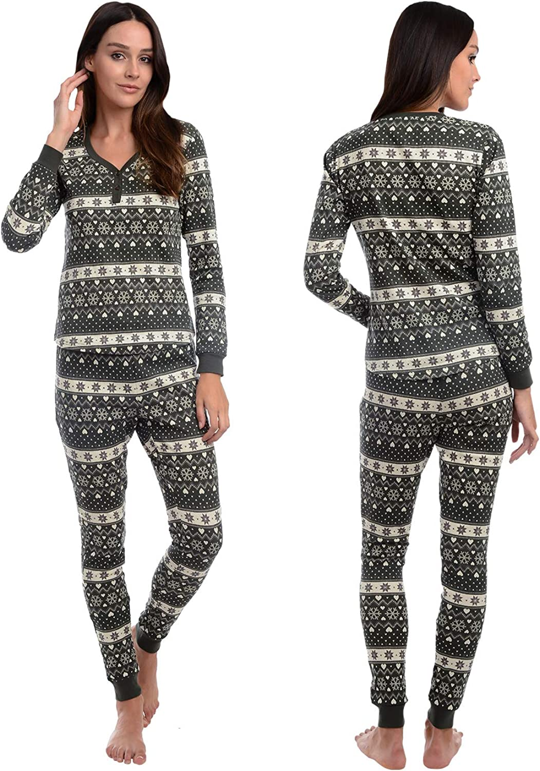 Body Candy Womens Henley Warm Thermal Tops with Leggings set, DEER GAMES, Blue