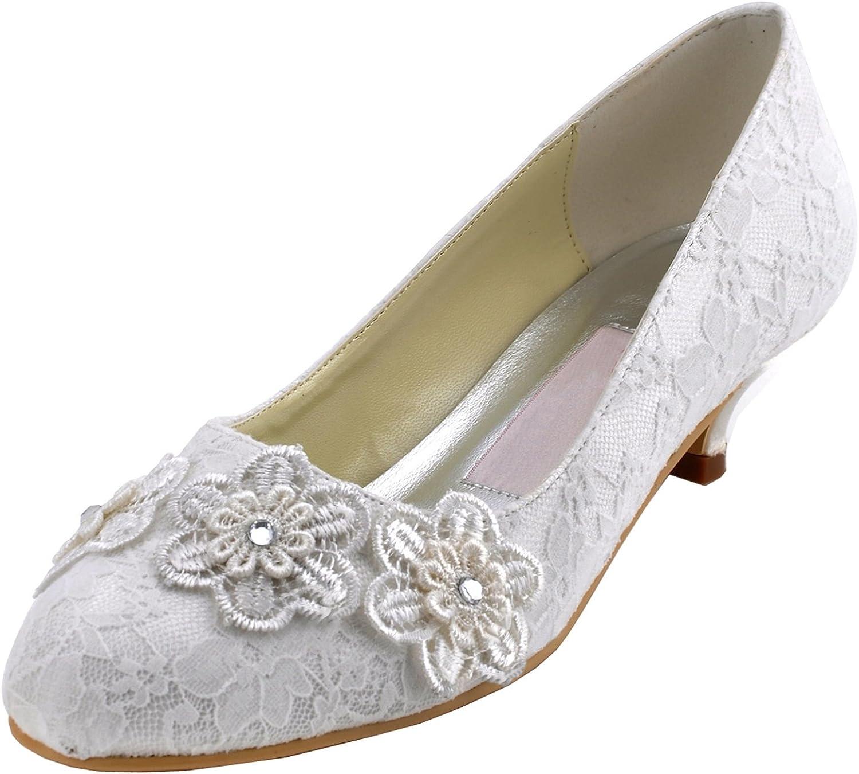 Minishion GYMZ679 Womens Round Toe Flowers Satin Evening Party Prom Bridal Wedding shoes Pumps Sandals Flatfs