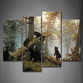 First Wall Art - Bear Black Bears Play in Forest Broken Tree Wall Art Decor Wildlife Animal Canvas Pictures Artwork 4 Pane...