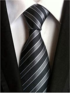 Secdtie Men's Classic Stripe Jacquard Woven Silk Tie Formal Party Suit Necktie