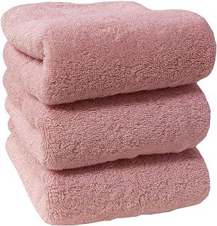 フェイスタオル タオル 3枚セット 35×80cm 綿100% 厚手 無地 丸洗い 夏タオル 吸水 通気性タオルケット ホテル ギフト デイリータオル バーゲン (3P・ピンク)