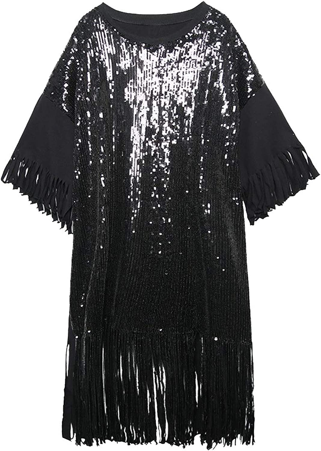CollocationOnline Round Neck ThreeQuarter Sleeve Black Sequins ShiningTassels Big Size Dress Women