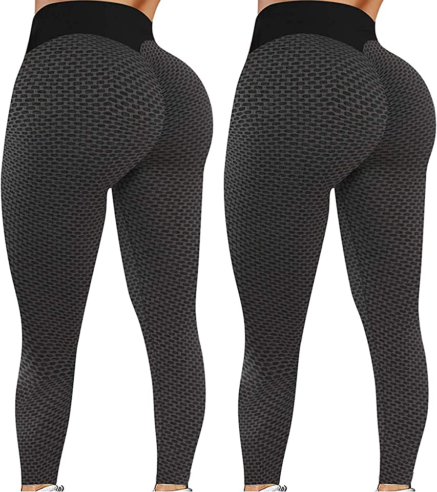 2er Pack Tik Tok Leggings, Butt Lift Leggings für Frauen, Frauen Yoga Hose High Waisted Butt Lifting Bubble Hip Lift