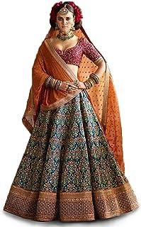 Zeel Clothing Women's Faux Silk Semi stitched Lehenga Choli (7031-Bridal-Lehenga-Women-Heavy_Blue_Free Size)