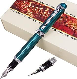 Duke D2 Green Fountain Pen Double-Nibs Iridium Medium and Fude Calligraphy Nib Interchangeable Writing Gift Box Set for Office/Business/Art/Painting
