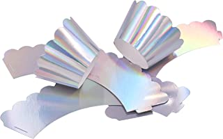 ZEALAX Iridescent Party Supplies Unicorn Cupcake Wrappers Muffins Holder Birthday Party Decoration, Set of 24, Iridescent Silver