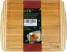 Bamboo Chopping Board Extra Large With Juice Groove, Kitchen Large Cutting Board 17.6 x 14 IN for Meat Vegetable Cheese, Reversible Serving Board By HTB