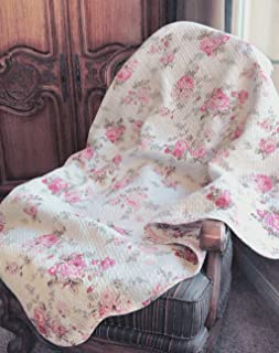 Cozy Line Home Fashions Josephine Spring Peony Pink Ivory Floral Print Pattern Reversible 100% Cotton Quilted Throw Blanket 60