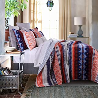 3 Piece Multi Medallion Stripe Theme Quilt Full Queen Set, Pretty Bohemian Lodge, Native Tribal Design, Damask Stripes Indie Pattern, Southwestern-Inspired Style, Reversible Bedding, Blue Orange White
