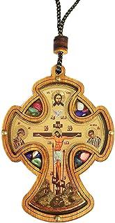 Inspire Nation カーロザリオ カトリック木製クロス クリスタルインセンス付き ゴールド