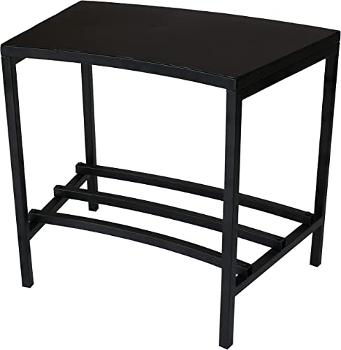 2021 Sunnydaze Black Steel Outdoor Patio End Table with Shelf - Outside Backyard Furniture for Deck, sale Lawn, Porch, Balcony and Garden - Side Table for Storage and outlet sale Entertaining sale