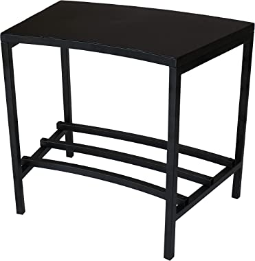 Sunnydaze Black Steel Outdoor Patio End Table with Shelf - Outside Backyard Furniture for Deck, Lawn, Porch, Balcony and Garden - Side Table for Storage and Entertaining