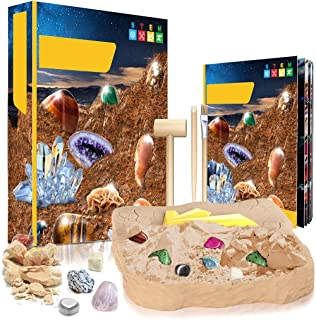 boxoon Gemstone Dig Kit Interactive Developmental Crystal Mining Set Crystal Mining Kit Dig up Toy for Kids