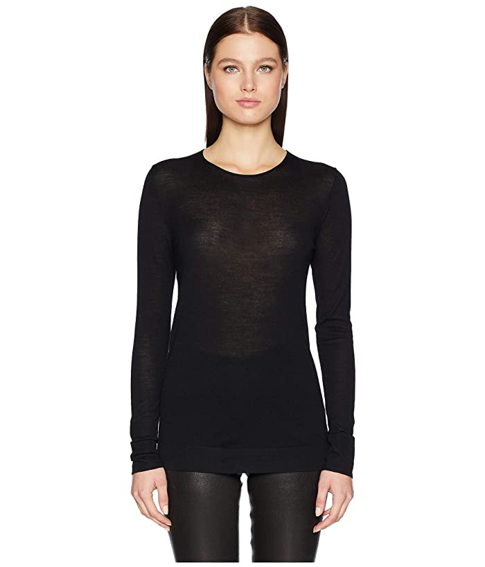 GREY Jason Wu Feather Weight Merino Crew Long Sleeve Sweater (Black) Women