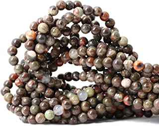Qiwan 60PCS 6mm Rainforest agate Gemstone Round Loose Beads for Jewelry Making 1 Strand 15