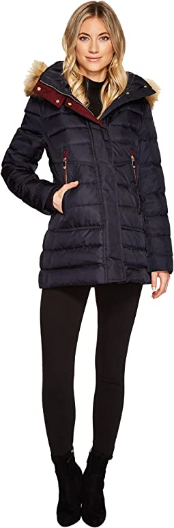 Vince Camuto - Faux Fur Hooded Down with Contrast Piping N8791