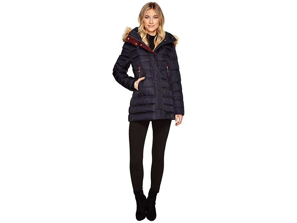 Vince Camuto Faux Fur Hooded Down with Contrast Piping N8791 (Navy) Women
