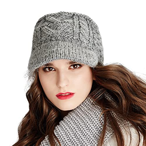 1b48ada571e8d8 Kenmont Winter Alpaca Taqiyah Hand Knitted Hat Newsboy Cable for Women in  Black, Grey
