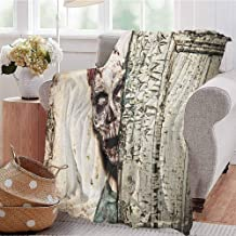 Luoiaax Zombie Luxury Special Grade Blanket Dead Man in Abandoned Old House Hell Style Mystery Blood Vampire Artful Design Multi-Purpose use for Sofas etc. W70 x L84 Inch Jade Green Cream