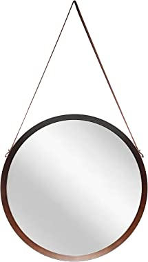 Infinity Instruments Decorative Circle Round 18 inch Bathroom Hallway Entryway Living Room Bedroom Kitchen Hanging Wall Mirror Home Decor Large Circular with Leather Hanging Strap Framed (Dark Wood)