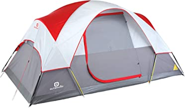Outbound 6-Person Tent | Dome Tent for Camping with Carry Bag and Rainfly | Perfect for Backpacking and The Beach | Red