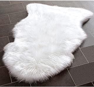 YJ.GWL Super Soft White Fluffy Faux Fur Sheepskin Rug for Bedroom Sofa Seat Cover Living Room Shaggy Bedside Area Rugs, Irregular 2' x 3'