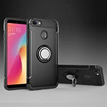 YHUISEN Armor Dual Layer 2 in 1 Protection Case with 360 Degree Rotating Finger Ring Holder and Magnet Car Holder Case for OPPO F5 Youth/OPPO A73 (Color : Black)