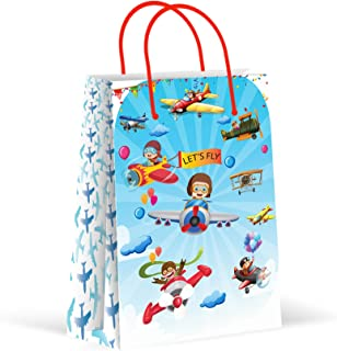 Premium Airplane Party Bags, Plane Party Favor Bags, New, Treat Bags, Gift Bags, Goody Bags, Party Favors, Party Supplies, Decorations, 12 Pack
