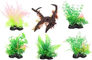 Balacoo 6pcs Artificial Aquarium Plants Plastic Water Plants Hydroponic Plants Grasses Coconut Palm Tree for Fish Tanks Aq...