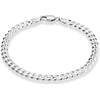 Miabella 925 Sterling Silver Italian 5mm Solid Diamond-Cut Cuban Link Curb Chain Bracelet for Men Women, 6.5, 7, 8, 9 Inch Made in Italy