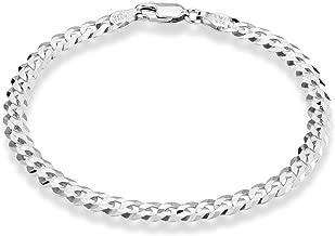 Miabella 925 Sterling Silver Italian 5mm Solid Diamond-Cut Cuban Link Curb Chain Bracelet for Men Women, 6.5, 7, 8, 9 Inch