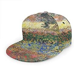 Unisex Printed Adjustable Visor Twill Flat Brim Baseball Cap/Trucker Cap, Hip Hop Dancing Fashion Snapback Hat-Flowering garden vincent van gogh