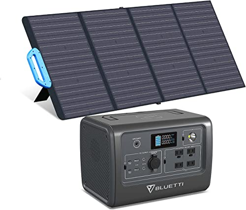 BLUETTI EB70 716Wh/700W Portable Power Station with PV120 120W Foldable Solar Panel Included LiFePO4 Battery Pack w/ 4 AC Outlets Solar Generator for Outdoor Camping Home Vanlife Off Grid Emergency