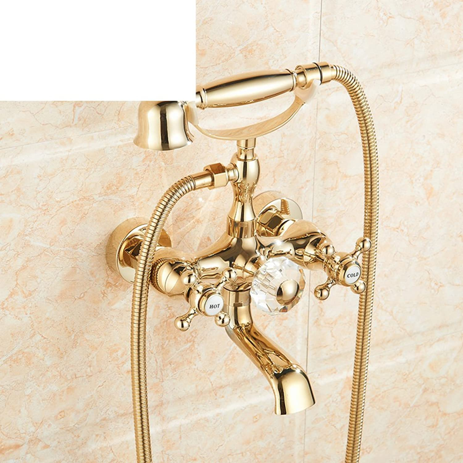 European-Style Shower stall Shower Set Antique Double Bathtub Faucet hot and Cold Simple Shower-A