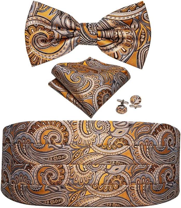 GANFANREN Men Silk Floral Bow Tie Set Pocket Square Cufflink Formal Tuxedo Suit Accessories (Color : B)