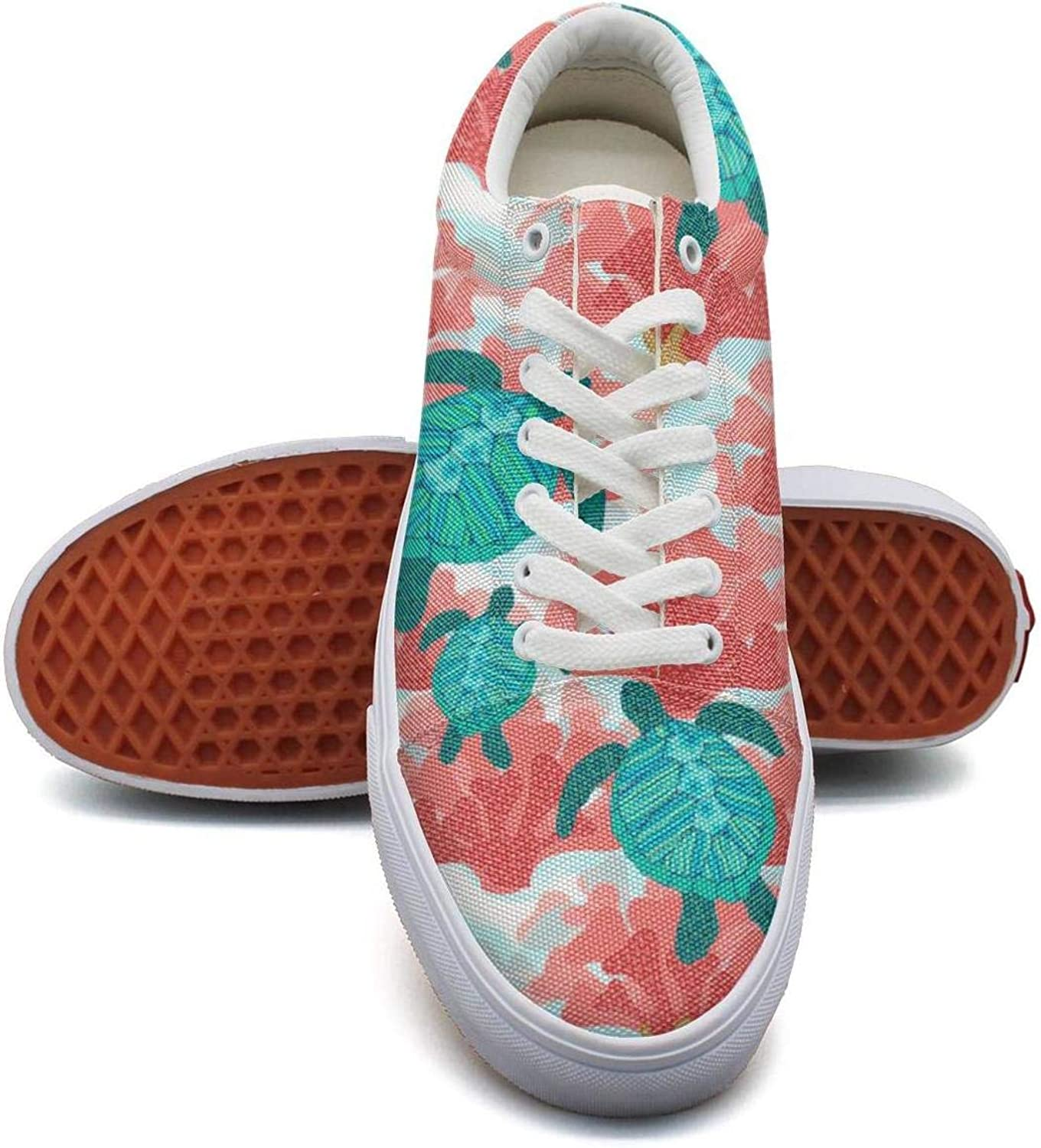 Girls Ocean Sea Turtle Canvas shoes Cute White Lace-up shoes for Women