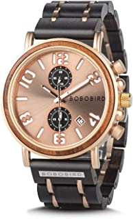 BOBO BIRD Men's Wood Watch Stainless Steel Luxury Brand Design Analog Quartz Wrist Watches Waterproof Date Timepieces (Gold)